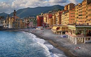 デスクトップの壁紙、、イタリア、海、建物、海岸、リグーリア州、砂浜、Camogli、都市