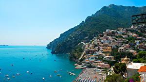 Bilder Italien Meer Gebirge Haus Boot Positano Natur