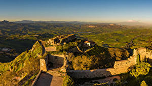 デスクトップの壁紙、、イタリア、シチリア、城、廃墟、丘、Enna、自然