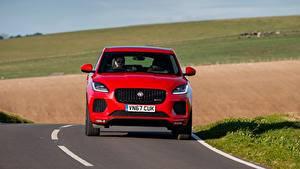 Bilder Jaguar Rot Vorne Crossover Asphalt E-Pace, R-Dynamic First Edition, UK-spec, 2017 Autos