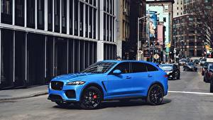 Desktop hintergrundbilder Jaguar Straße Blau Seitlich Crossover F-Pace, SVR, US-spec, 2018 Autos