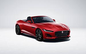 Desktop hintergrundbilder Jaguar Cabriolet Rot Metallisch F-Type R-Dynamic Black Convertible, Worldwide, 2021 auto