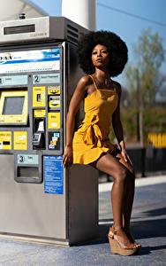 Bilder Posiert Kleid Bein Neger Blick Janae Fulton