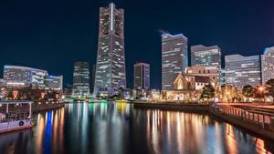 Fotos Japan Haus Bootssteg Bucht Nacht Straßenlaterne Yokohama
