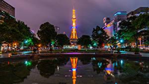 Bilder Japan Haus Teich Nacht Platz Lichtstrahl Sapporo Städte