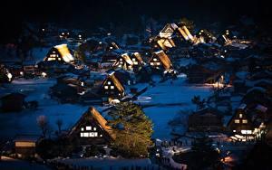 Fotos Japan Haus Dorf Nacht Bäume Shirakawa-go, Honshu Städte