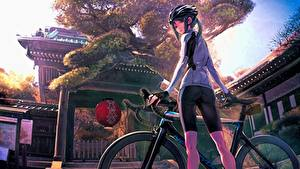 Fotos Japan Fahrrad Helm Schülerin Minami Kamakura Koukou Joshi Jitensha-bu, Shiki Mori Anime Mädchens