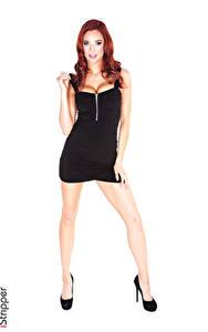 Fotos Jayden Cole iStripper Rotschopf Hand Kleid Bein High Heels Mädchens