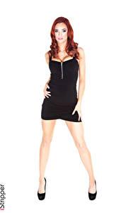 Fotos Jayden Cole iStripper Weißer hintergrund Rotschopf Hand Kleid Schwarz Bein High Heels junge frau