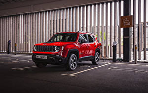 Fotos Jeep Sport Utility Vehicle Hybrid Autos Rot Metallisch Geparktes 2020 Renegade Trailhawk 4xe