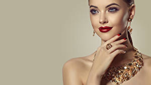 Wallpaper Jewelry Necklace Colored background Face Makeup Red lips Hands Manicure Earrings Girls