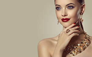 Wallpaper Jewelry Colored background Face Makeup Red lips Hands Manicure Earrings Girls