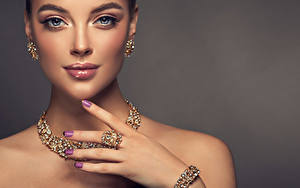 Image Jewelry Gray background Face Earrings Hands Manicure Staring Girls