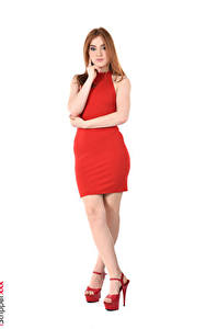 Bilder Jia Lissa Braune Haare Kleid Weißer hintergrund Hand Bein Stöckelschuh Mädchens
