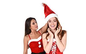Fotos Jia Lissa Liya Silver Neujahr iStripper Weißer hintergrund Starren Blick Lächeln Braunhaarige Mütze Brünette Hand Junge frau Mädchens