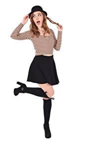Hintergrundbilder Jia Lissa iStripper Braune Haare Braunhaarige Der Hut Pose Hand Rock Bein Junge Frauen