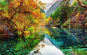 Hintergrundbilder Jiuzhaigou park China Park See Herbst Wälder Landschaftsfotografie