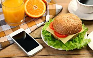 Bilder Fruchtsaft Orange Frucht Gemüse Hamburger Trinkglas Smartphone