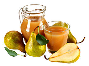 Pictures Juice Pears White background Jug container Highball glass Food