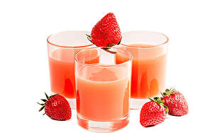 Picture Juice Strawberry White background Three 3 Highball glass Food