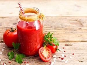 Hintergrundbilder Fruchtsaft Tomate Bretter Weckglas das Essen