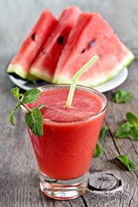 Fotos Fruchtsaft Wassermelonen Trinkglas Stück Lebensmittel