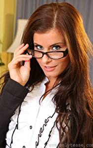 Images Kamila A only Brown haired Staring Eyeglasses Hair young woman