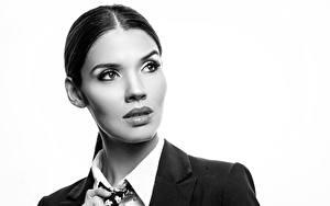 Bureaubladachtergronden Brunette meisje Make up Kijkt Zwart witte Karol Jonge_vrouwen