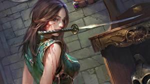 Hintergrundbilder Katana Gezeichnet Schwert Braunhaarige Blut Fantasy Mädchens