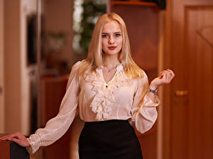 Photo Posing Blouse Hands Blonde girl Staring Katya, Andrew Filonenko young woman