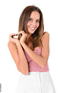 Bilder Katya Clover Gestik iStripper Weißer hintergrund Braune Haare Starren Lächeln Hand Herz junge Frauen