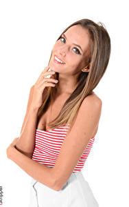 Tapety na pulpit Katya Clover iStripper Białe tło Dziewczyna z brązowymi włosami Wzrok Uśmiech Ręce dziewczyna