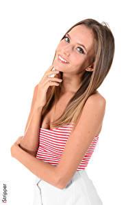 Fotos Katya Clover iStripper Weißer hintergrund Braune Haare Starren Lächeln Hand junge frau