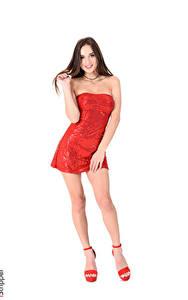 Hintergrundbilder Katya Clover iStripper Weißer hintergrund Braunhaarige Kleid Lächeln Hand Bein High Heels junge Frauen