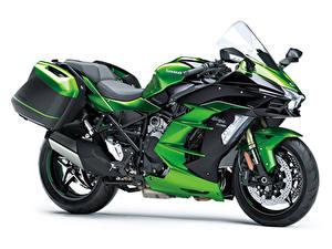 Bilder Kawasaki Weißer hintergrund Seitlich 2018-20 Ninja H2 SX Motorräder