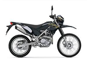 Fotos Kawasaki Schwarz Weißer hintergrund KLX230, 2019 Motorräder
