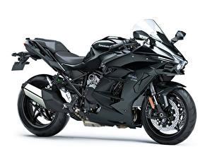 Fotos Kawasaki Schwarz Weißer hintergrund Ninja H2 SX, 2018 Motorräder