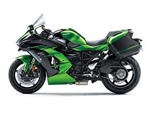 Hintergrundbilder Kawasaki Grün Weißer hintergrund Ninja H2 SX, 2018 Motorrad