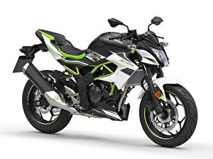 Bilder Kawasaki Weißer hintergrund Z125, EU-spec, 2018 Motorräder