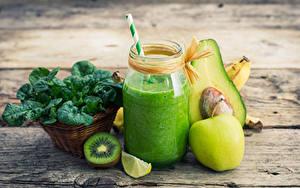 Fotos Kiwi Äpfel Avocado Smoothie Bretter Weckglas Lebensmittel