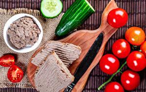 Bilder Messer Tomate Gurke Butterbrot Schneidebrett Lebensmittel