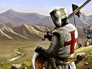 Bilder Ritter Helm Rüstung Kreuz Crusader Fantasy