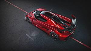 Fotos Koenigsegg Von oben Rot Metallisch 2019 Jesko 1600 Cherry Red Edition Autos
