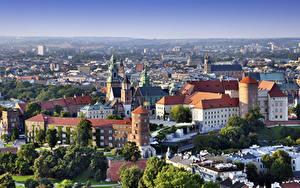 Bilder Krakau Polen Burg Kathedrale Von oben Wawel Castle, Cathedral Saints Stanislaus and Wenceslas Städte