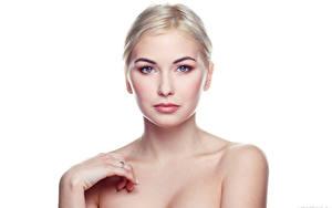 Bilder Blondine Weißer hintergrund Blick Kristina, Evgeniy Bulatov junge Frauen