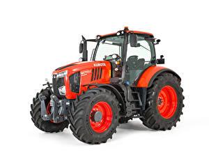 Fotos Traktoren Rot Weißer hintergrund Kubota M7152, 2018 --