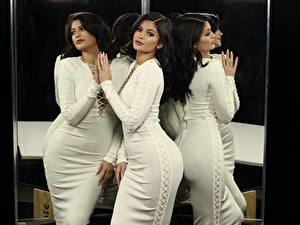 Image Brunette girl Staring Gown Hands Reflected Pose Kylie Jenner Celebrities Girls