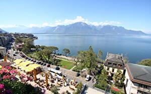 Hintergrundbilder See Küste Café Horizont Von oben Montreux, Lake Geneva Städte