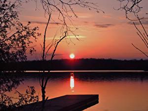 Fotos See Bootssteg Sonnenaufgänge und Sonnenuntergänge Sonne