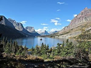 Pictures Lake Mountains Canada Rock Spruce Rocky Mountains, Lake Moraine, Alberta Nature